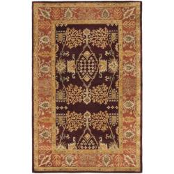 Handmade Tree of Life Dark Red/ Rust Hand-spun Wool Rug (4' x 6')