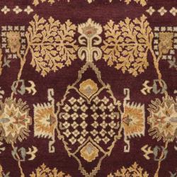 Handmade Tree Dark Red/ Rust Hand-spun Wool Rug (9' x 12')
