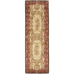 Safavieh Handmade Aubusson Maisse Light Gold/ Red Wool Rug (2'6 x 10')