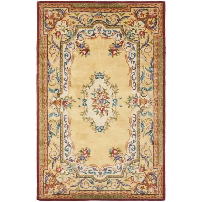 Safavieh Handmade French Aubusson Loubron Gold Premium Wool Rug (4' x 6')