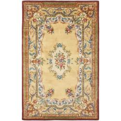 Handmade French Aubusson Loubron Gold Premium Wool Rug (4' x 6')