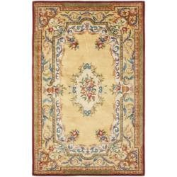 Handmade French Aubusson Loubron Gold Premium Wool Rug (5' x 8')