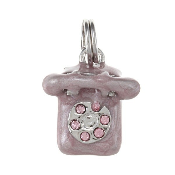 La Preciosa Silver Purple Enamel and CZ Rotary Dial Telephone Charm