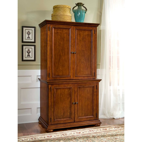 Home Styles Distressed Warm Oak Desk and Hutch Combo