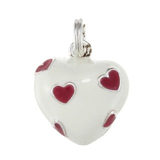 La Preciosa Sterling Silver White and Red Enamel Heart Charm