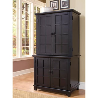 Black Arts and Crafts Compact Desk and Hutch