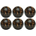 Red Vanilla 4-inch Decorative Rope and Bark Nature Spheres (Set of 6)