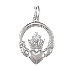 La Preciosa Sterling Silver Cubic Zirconia Irish Claddagh Charm