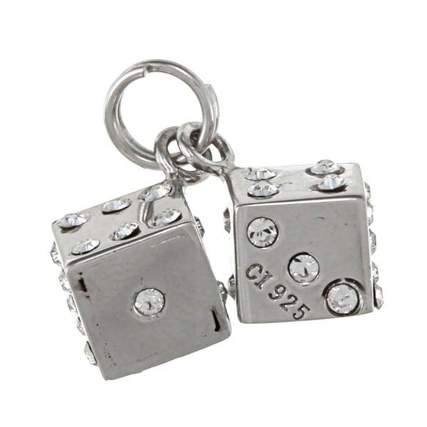 La Preciosa Sterling Silver Crystal Pair of Dice Charm