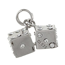 La Preciosa Sterling Silver Crystal Pair of Dice Charm