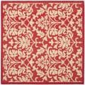 Courtyard Poolside Red/ Natural Indoor Outdoor Rug (6'7 Square)