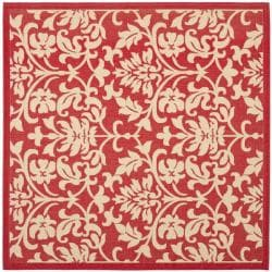 Safavieh Courtyard Poolside Red/ Natural Indoor Outdoor Rug (7'10 Square)