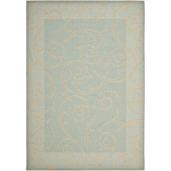 "Safavieh Poolside Aqua/Cream Indoor/Outdoor Border Rug (4' x 5'7"")"