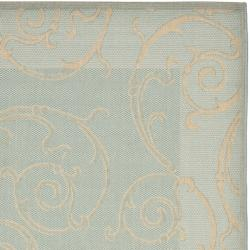Safavieh Poolside Aqua/Cream Indoor/Outdoor Border Rug (4' x 5'7