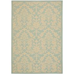 Poolside Aqua/ Cream Indoor Outdoor Rug (5'3 x 7'7)