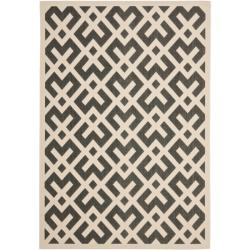 Poolside Black/Bone Polypropylene Indoor/Outdoor Rug (4' x 5'7
