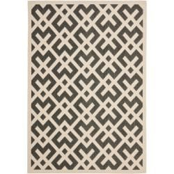 Safavieh Poolside Black/Bone Polypropylene Indoor/Outdoor Rug (4' x 5'7