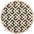 Poolside Black/ Bone Indoor Outdoor Rug (5'3 Round)