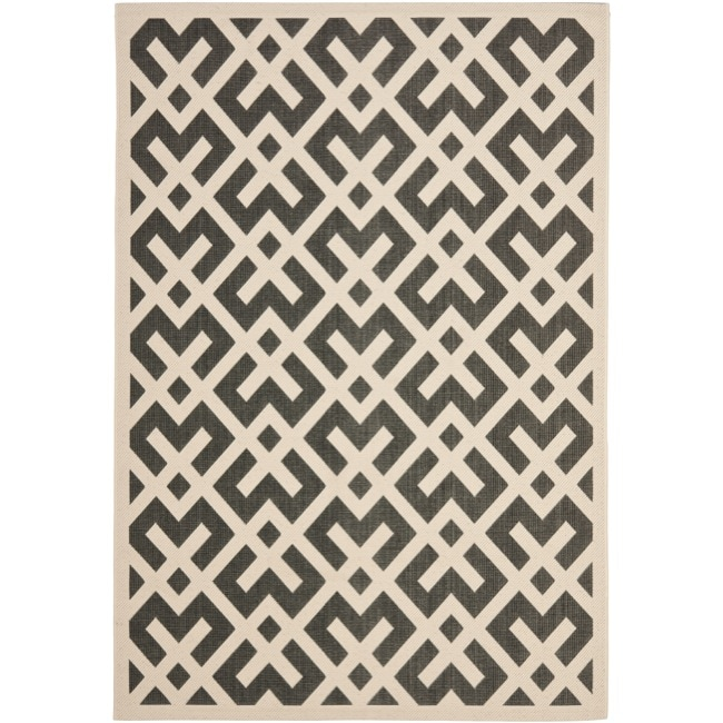 Safavieh Poolside Black/Bone Indoor Outdoor Area Rug (8' x 11'2)