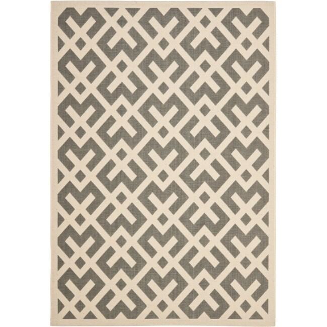 Safavieh Poolside Grey/ Bone Indoor Outdoor Rug (5'3 x 7'7)
