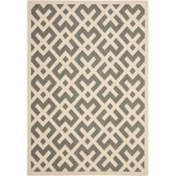 Safavieh Poolside Grey/ Bone Indoor Outdoor Rug (5'3 x 7'7)