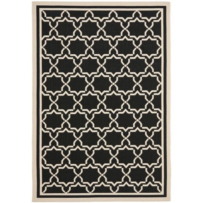 """Safavieh Poolside Geometric Black/Beige Indoor/Outdoor Rug (5'3"""" x 7'7"""")"""
