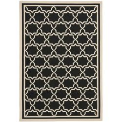 "Poolside Black/Beige Indoor/Outdoor Border Rug (8' x 11'2"")"