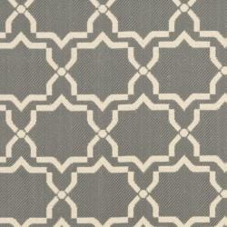 Poolside Anthracite/Beige Indoor/Outdoor Bordered Rug (4' x 5'7