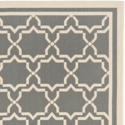 Poolside Anthracite/Beige Indoor-Outdoor Area Rug (6'7 x 9'6)