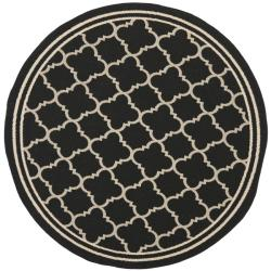 "Poolside Black/Beige Polypropylene Indoor/Outdoor Rug (5'3"" Round)"