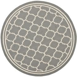 Safavieh Poolside Anthracite/ Beige Indoor Outdoor Rug (5'3 Round)