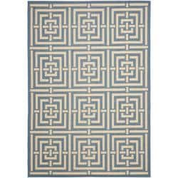 Poolside Blue/ Bone Indoor Outdoor Rug (4' x 5'7)