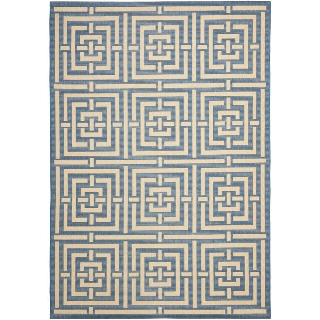 Safavieh Poolside Blue/ Bone Indoor Outdoor Rug (6'7 x 9'6)