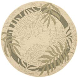 Safavieh Poolside Cream/ Green Indoor Outdoor Rug (6'7 Round)