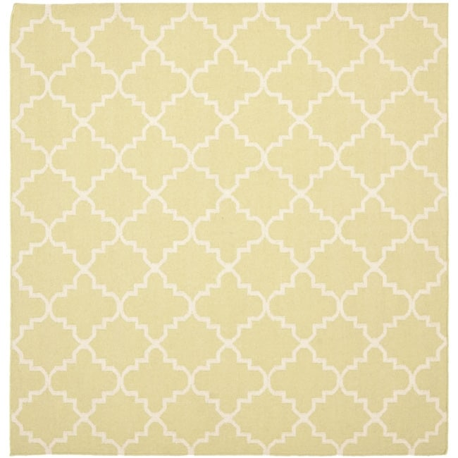 Safavieh Hand-woven Moroccan Reversible Dhurrie Light Green/ Ivory Wool Rug (8' Square)