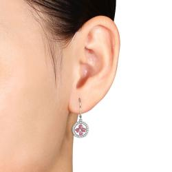 Miadora 10k White Gold 1ct TDW Pink and White Diamond Earrings (H-I, I1-I2)