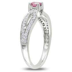 Miadora 14k White Gold 1/2ct TDW Pink and White Diamond Ring (H-I, I1-I2)