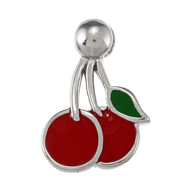 La Preciosa Sterling Silver Red and Green Enamel Cherries Charm