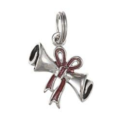 La Preciosa Sterling Silver Red Enamel Bow Diploma Charm