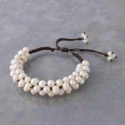 Freshwater Pearls Cluster White Bloom Cotton Rope Bracelet (Thailand)