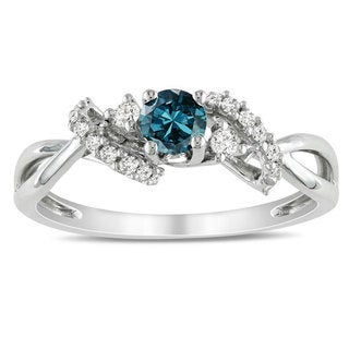 Miadora 10k White Gold 3/8ct TDW Blue and White Diamond Ring (H-I, I1-I2)