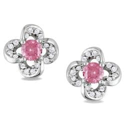 Miadora 14k White Gold 1/3ct TDW Pink and White Diamond Earrings (H-I, I1-I2)