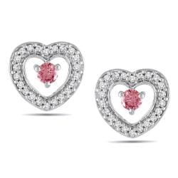 Miadora 10k Gold 1/3ct TDW Pink and White Diamond Heart Earrings (H-I, I1-I2)