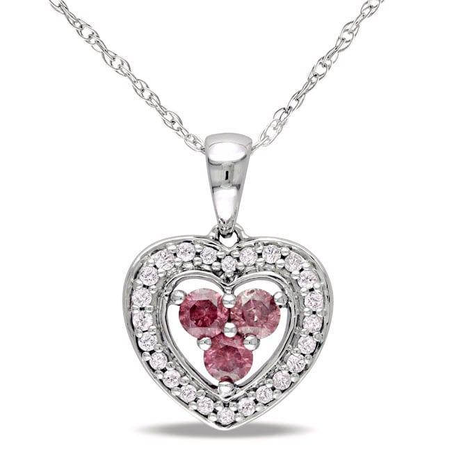 Miadora 10k White Gold 1/3ct TDW Pink and White Diamond Necklace (H-I, I1-I2)