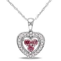 Miadora 10k White Gold 1/3ct TDW Pink and White Diamond Necklace (H-I, I1-I2)