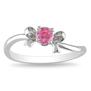 Miadora 10k White Gold 1/5ct TDW Pink Diamond Bow Ring