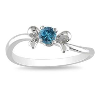 Miadora 10k White Gold 1/5ct TDW Blue Diamond Bow Ring