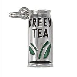 La Preciosa Sterling Silver Green Enamel 'Green Tea' Bottle Charm