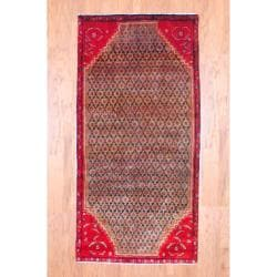 Persian Hand-knotted Hamadan Camel/ Red Wool Rug (4' x 8'2)