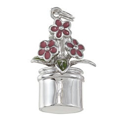 La Preciosa Sterling Silver Pink and Green Enamel Flowerpot Charm